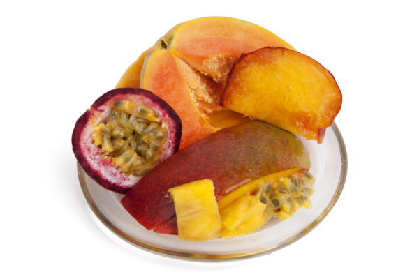 Passionfruit & Paw Paw fragrances on a plate