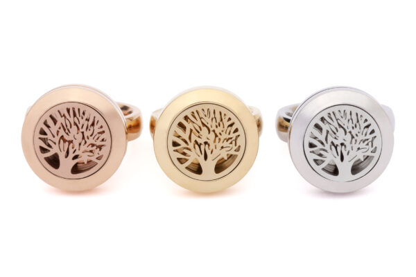 Be Enlightened Tree of Life Scented Rings Group shot, Rose Gold Ring, Yellow Gold Ring & Silver Ring