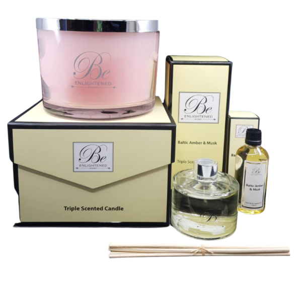 Baltic Amber & Musk Luxury Candle, Diffuser & Oil Pack