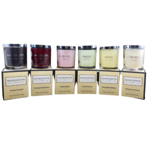Be Enlightened Six Scents Candles on their boxes