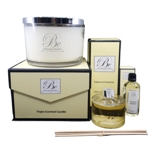 Tuberose & Gardenia Luxury Candle, Diffuser & Oil Pack