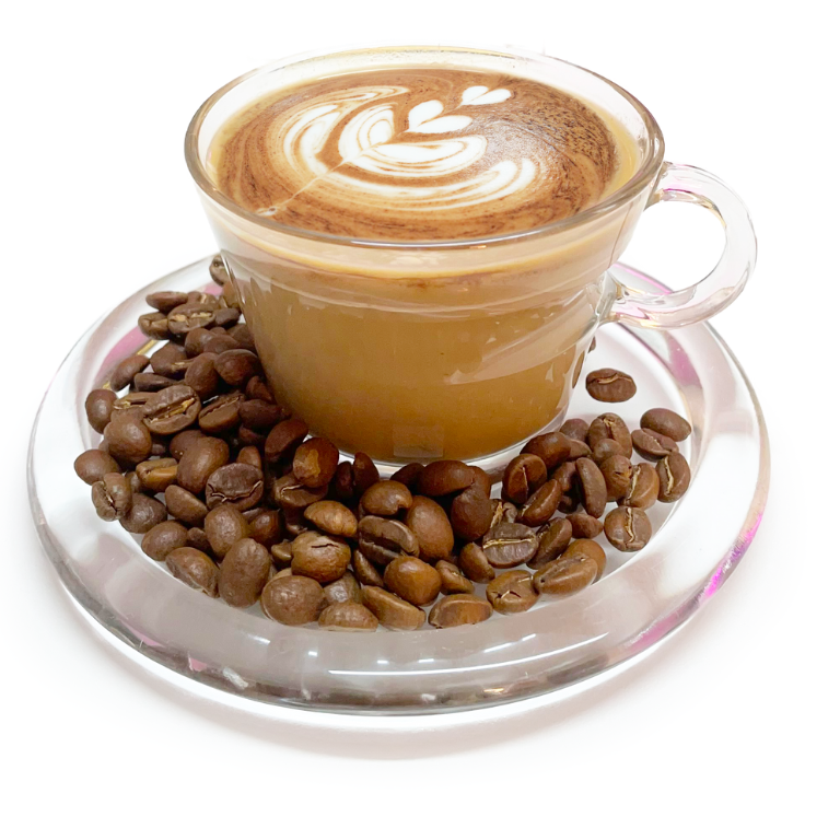 Fresh Cappuccino and coffee beans on a plate- Be Enlightened Cappuccino fragrance plate