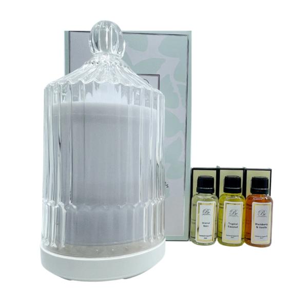 Luxury Glass Aroma Diffuser & 3 Oils Bundle